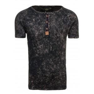 Pánske tričko s okrúhlym výstrihom v čiernej farbe