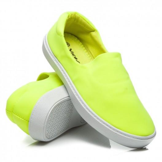 Športová obuv pre dámy neónovo zelenej farby
