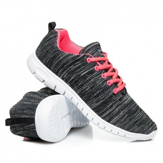 Dámska športová obuv čierno bielej farby s ružovými šnúrkami