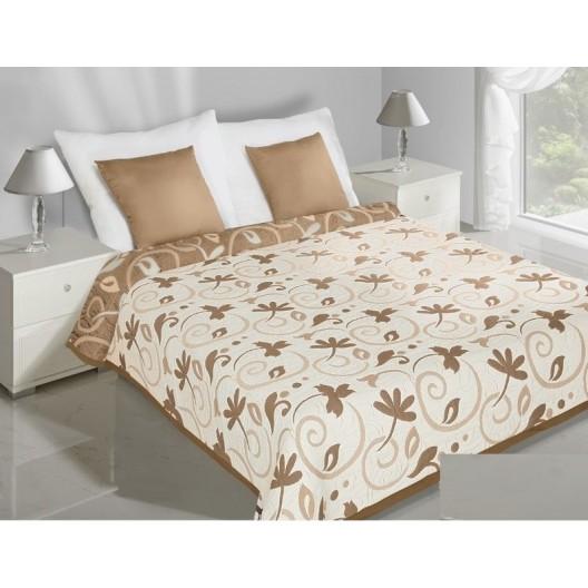 Obojstranný prehoz na posteľ béžovo hnedej farby s motívom listov
