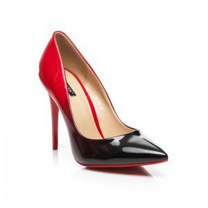 Červeno čierne tieňované dámske lodičky