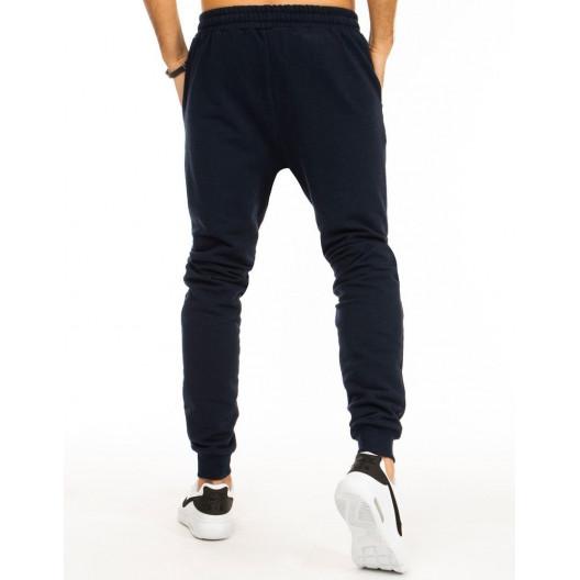 Pohodlné tmavo modré pánske jogger tepláky