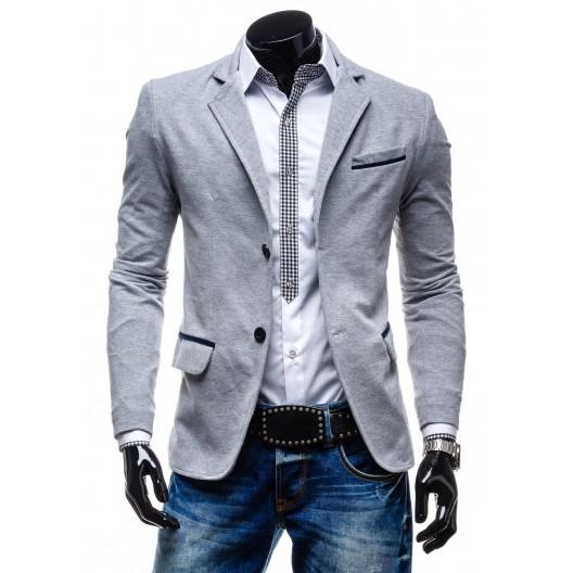 Pánske sako sivej farby s lakťovými nášivkami