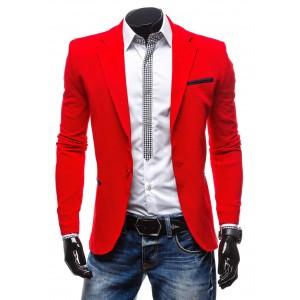 Červené slim fit pánske sako s čiernym lemovaním na vreckách