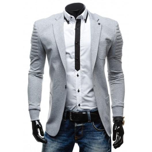 Sivé pánske sako s prešívaným vzorom na rukávoch ukončené na gumičku