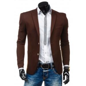 Hnedé pánske sako s bočnými a vnútornymi vreckami