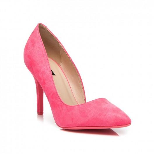 Ružové dámske semišové lodičky asymetrické