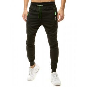 Originálne pánske čierne jogger tepáky s bočnými vreckami na zips