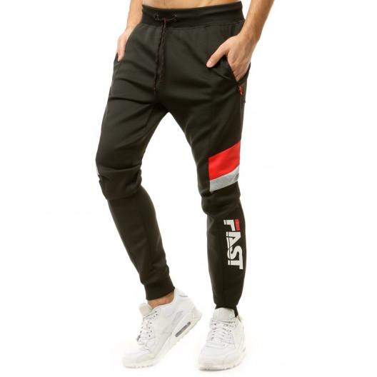 Černe pánske jogger tepláky s bočným červeným pásom