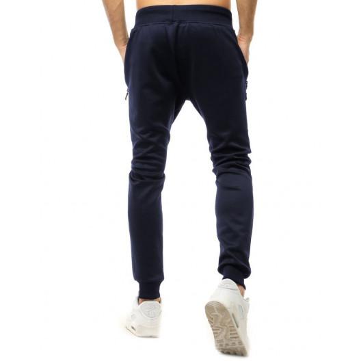 Originálne pánske tmavo modré jogger tepláky s bočnými vreckami na zips