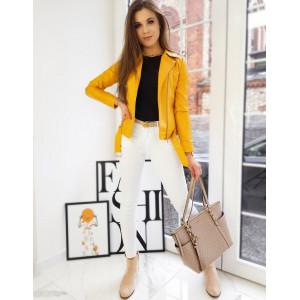 Dámska kožená bunda s opaskom v krásnej žltej farbe