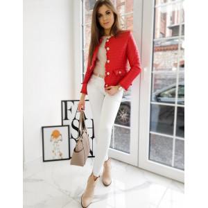Červená dámska elegantná prechodná bunda s efektným riasaním