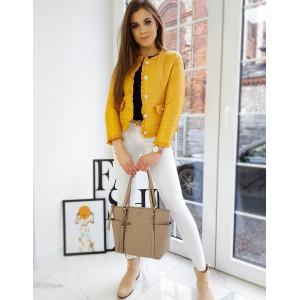 Krasna dámska jarná bunda v trendy žltej farbe