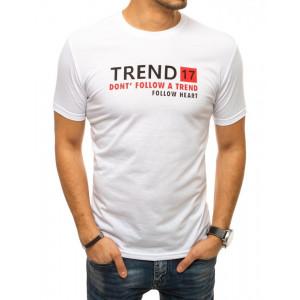 Krásne pánske tričko v bielej farbe s potlačou vpredu