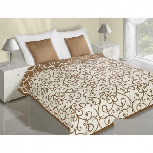 Béžovo hnedý obojstranný prehoz na posteľ