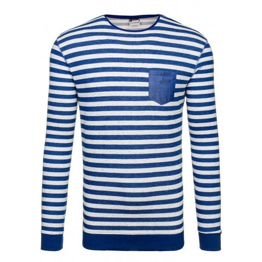Modrý pánsky sveter s bielymi pásikmi
