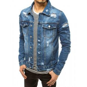 Moderná pánska modrá rifľová bunda s dierami