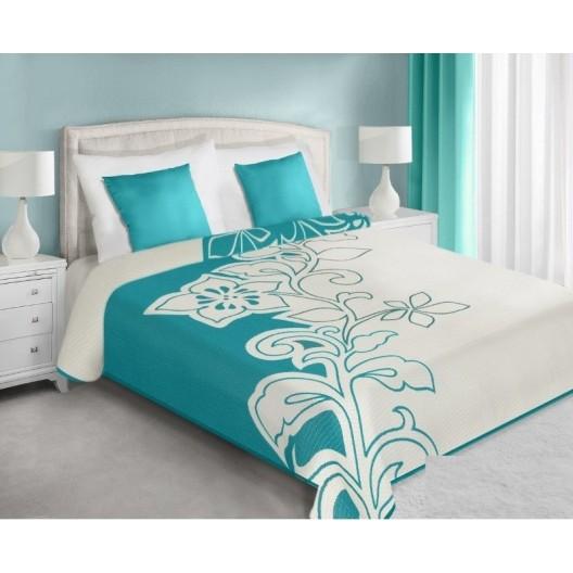 Bielo tyrkysový prehoz na posteľ s kvetom