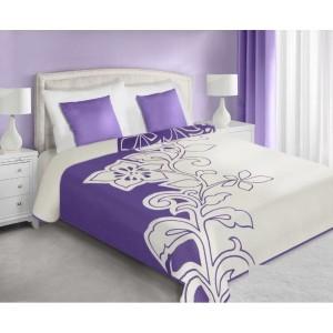 Obojstranný prehoz na posteľ fialovej farby s motívom kvetu