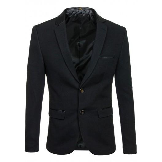 Čierne pánske sako s čiernym lesklým lémovaním na vreckách