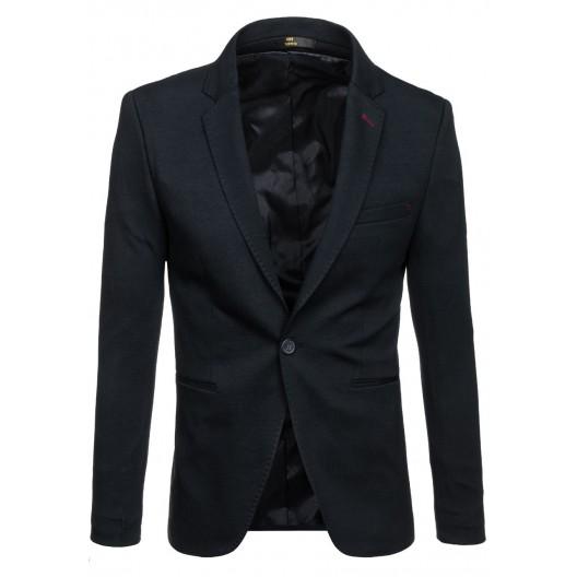 Elegantné pánske sako čiernej farby so zapínaním na gombík
