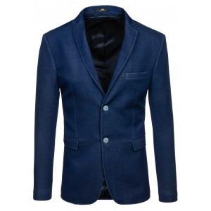 Slim fit pánske sako modrej farby so svetlo modrými gombíkmi