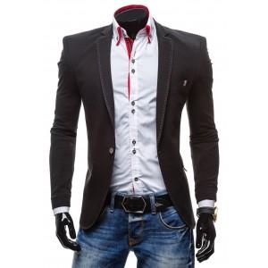 Čierne športové pánske sako lémované bielou nitkou