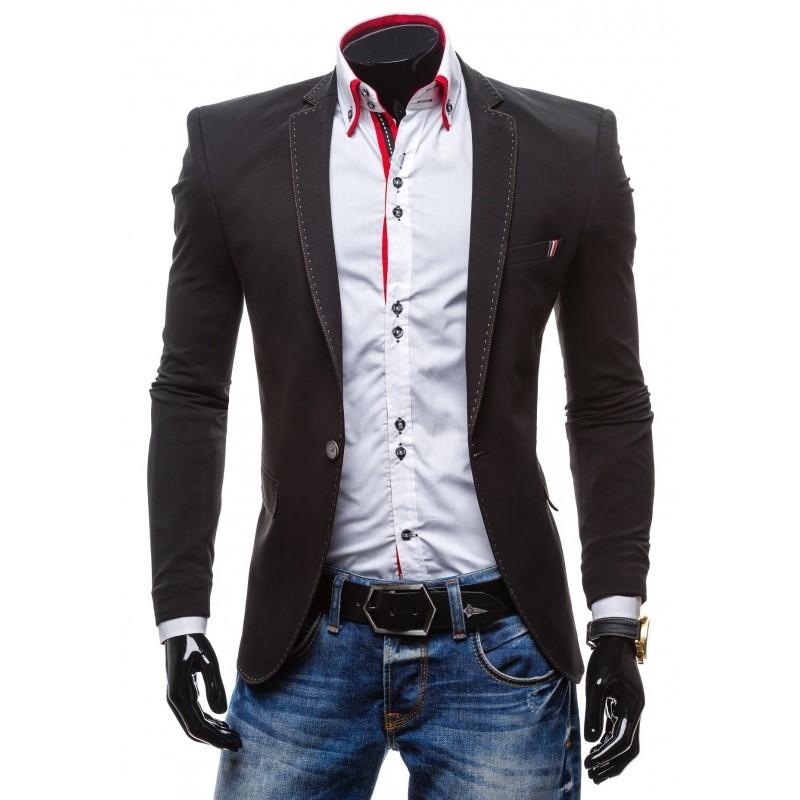 8a21d0b2fb Čierne športové pánske sako lémované bielou nitkou - fashionday.eu