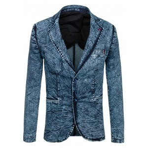 Moderné pánske sako modrej farby s džínsovým vzorom