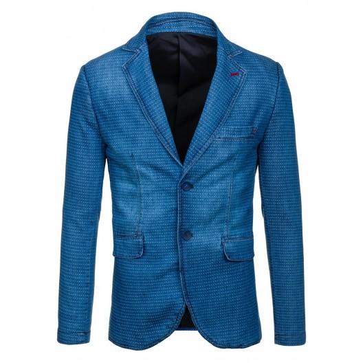 Štýlové pánske sako modrej farby so svetlými bodkami