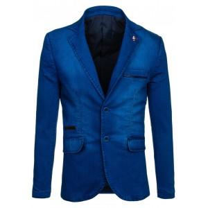 Sýto modré pánske sako s čiernym pásom na vreckách