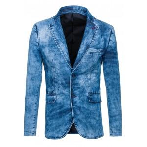 Tieňovaná pánske sako džínsového vzhľadu