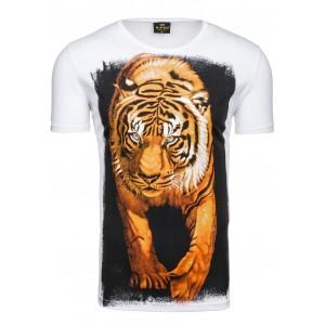 Biele tričká s krátkym rukávom s motívom tigra