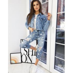 Štýlová svetlo modrá dámska jeansová bunda krátkeho strihu