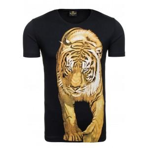 Čierne sexi tričko pre pánov s motívom tigra