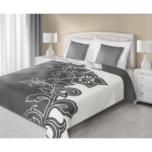 Prehoz na manželskú posteľ sivo bielej farby