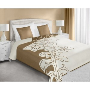 Prehoz na posteľ obojstranný béžovo krémovej farby