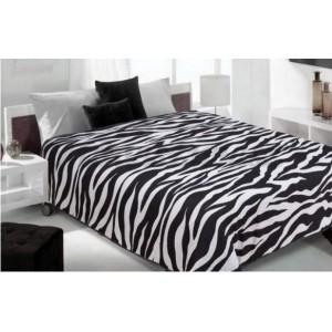 Prehoz na posteľ s motívom zebry čierno bielej farby