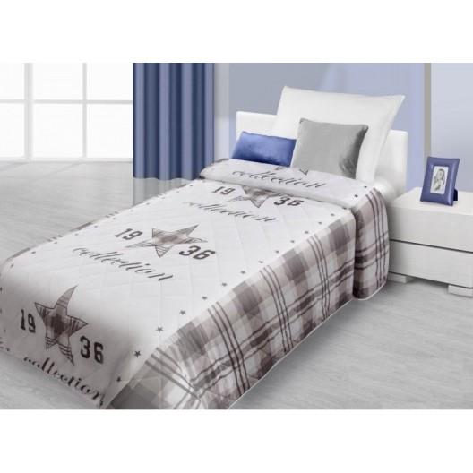 Hnedo biely prehoz na posteľ s motívom hviezdy