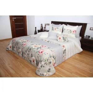 Prehoz na manželskú posteľ smotanovej farby s motívom ruží