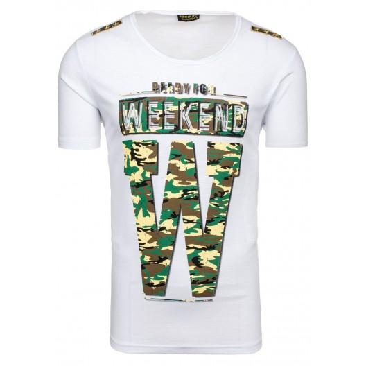 Biele pánske tričko s maskáčovým vzorom