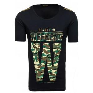 Štýlové pánske tričko s maskáčovou potlačou čiernej farby