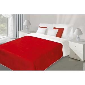 Červeno biely obojstranný prehoz na posteľ