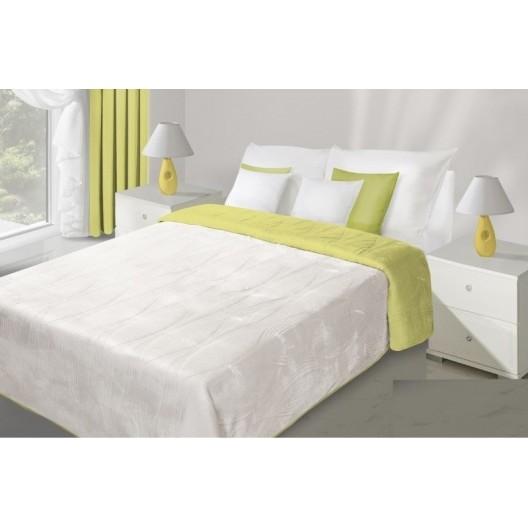 Limetkovo biely obojstranný prehoz na posteľ