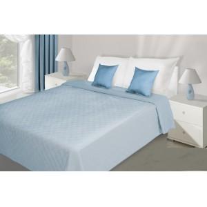 Svetlo modrý prešívaný prehoz na posteľ
