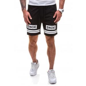 Krátke pánske teplákové nohavice v čiernej farbe s bielym nápisom