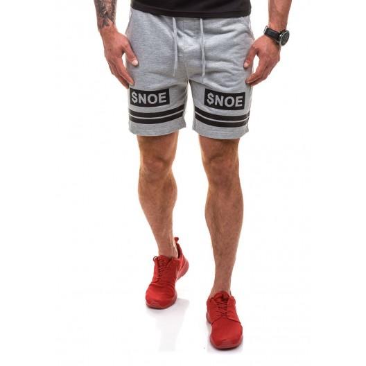 Pánske športové kraťasy v sivej farbe v kombinácií s čiernou