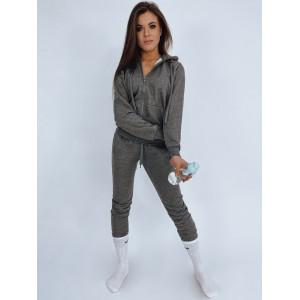 Moderná sivá joggingová dámska tepláková súprava s kapucňou