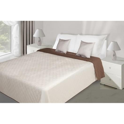 Krémovo hnedý obojstranný prehoz na manželskú posteľ