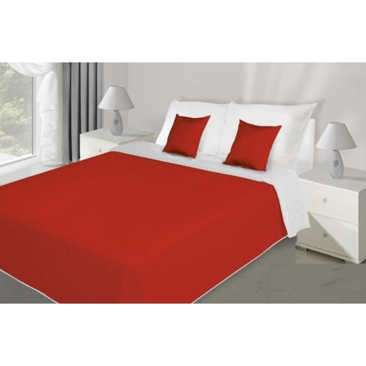 Prehoz na posteľ červeno bielej farby